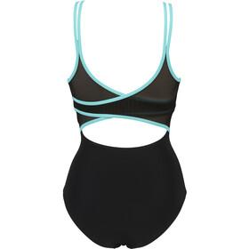 arena Emily Cross Back One Piece Swimsuit Women black/mint